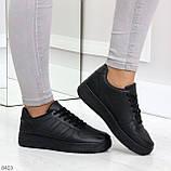 Удобные повседневные черные женские кроссовки кеды на шнуровке, фото 10