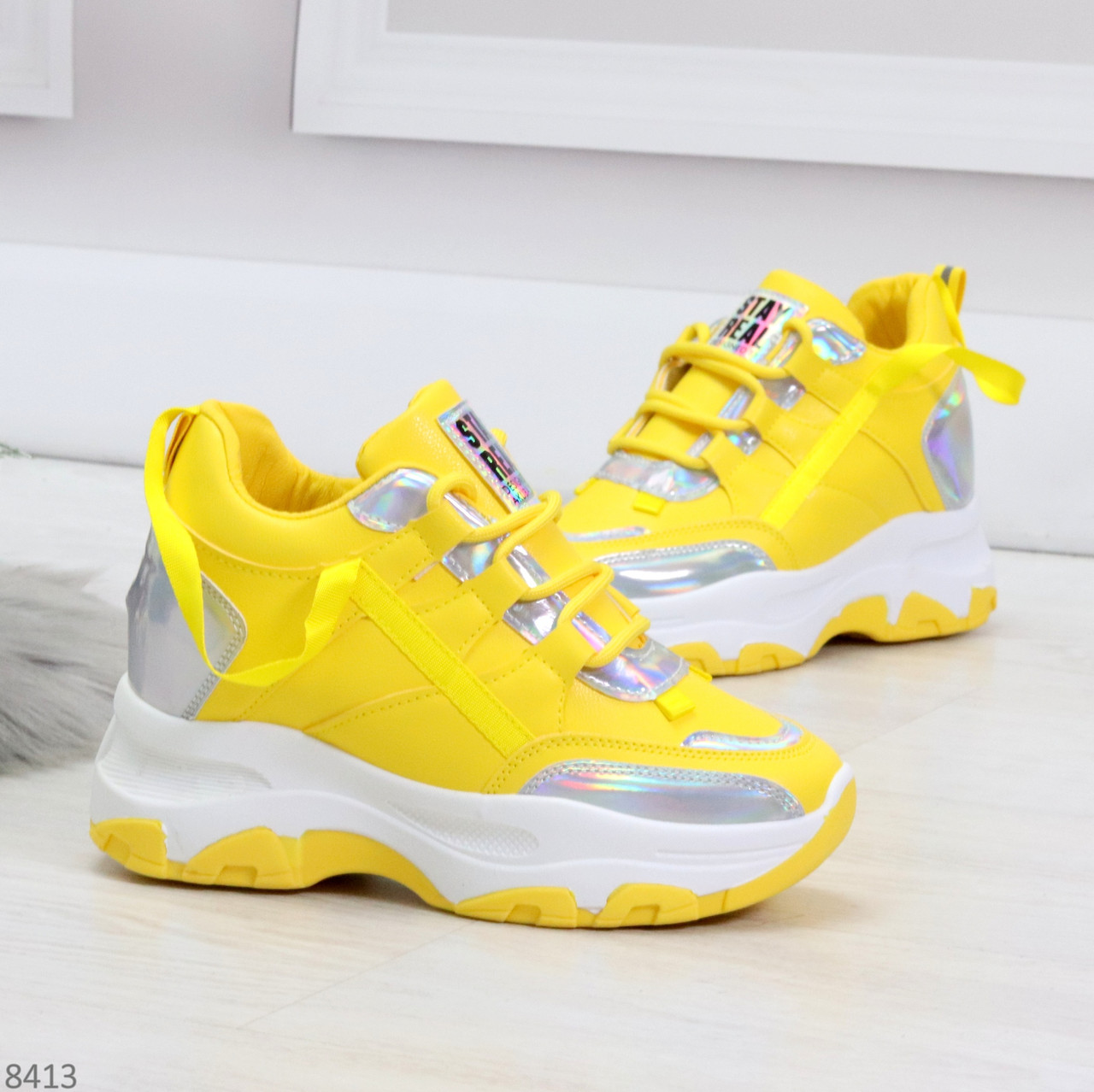 Дизайнерские желтые женские кроссовки сникерсы голограмма на шнуровке