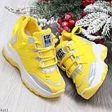 Дизайнерские желтые женские кроссовки сникерсы голограмма на шнуровке, фото 2
