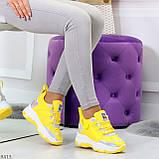 Дизайнерские желтые женские кроссовки сникерсы голограмма на шнуровке, фото 3