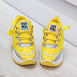 Дизайнерские желтые женские кроссовки сникерсы голограмма на шнуровке, фото 4