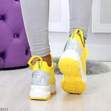 Дизайнерские желтые женские кроссовки сникерсы голограмма на шнуровке, фото 7