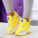 Дизайнерские желтые женские кроссовки сникерсы голограмма на шнуровке, фото 8
