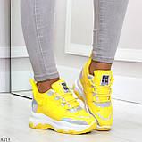Дизайнерские желтые женские кроссовки сникерсы голограмма на шнуровке, фото 9
