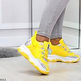 Дизайнерские желтые женские кроссовки сникерсы голограмма на шнуровке, фото 10