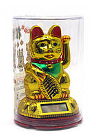 Кошка Манэки-нэко на солнечной батарее (10х6,5х6,5см)