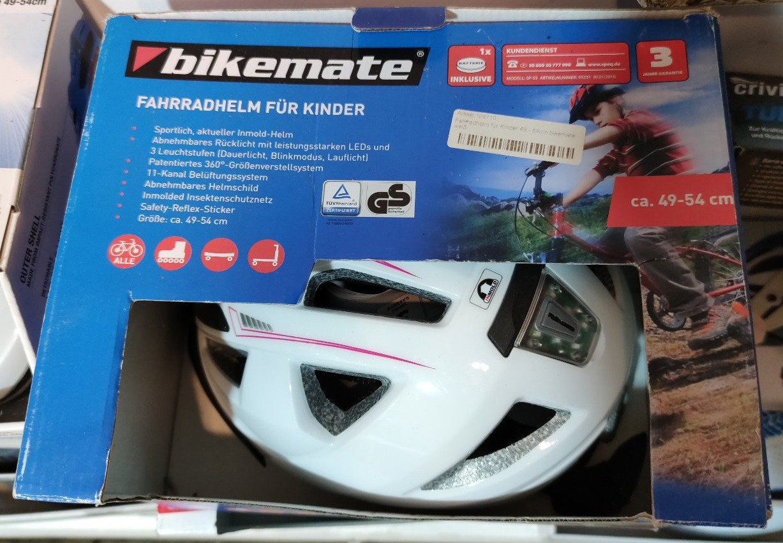 Дитячий велосипедний шолом Bikemate (49-54 см) біло-рожевий Німеччина