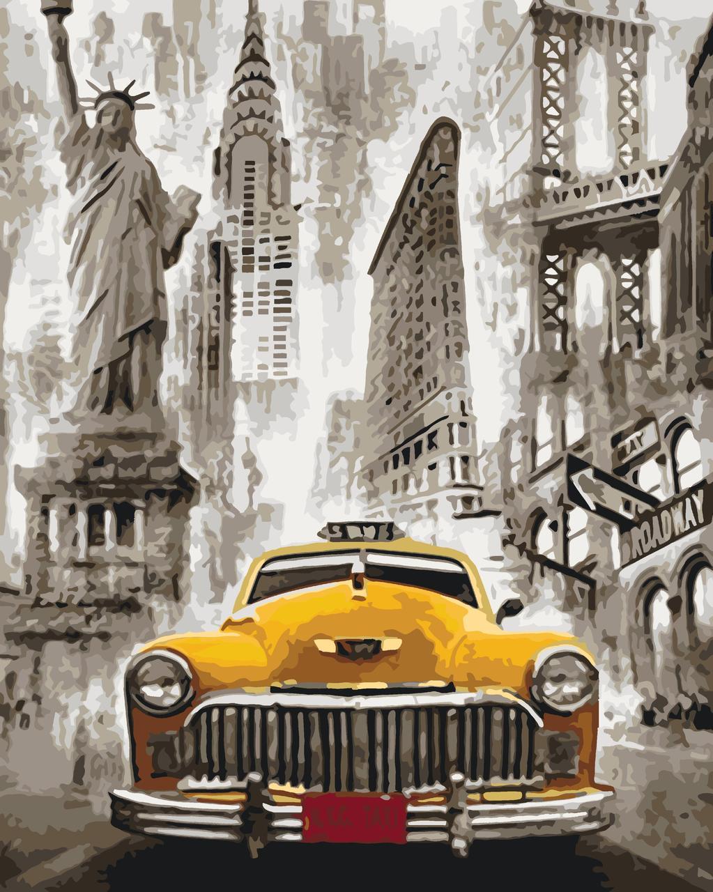 КНО3506 Раскраска по номерам Такси Нью-Йорка, Без коробки