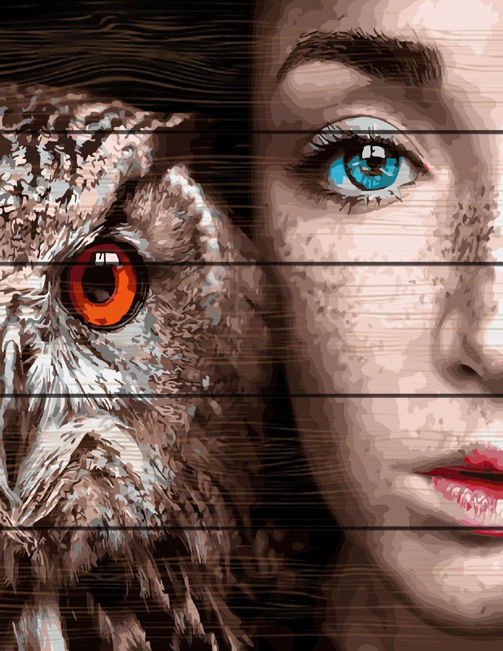 RA-GXT30916 Раскраска по номерам на деревяной основе Девушка и сова