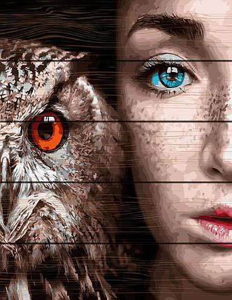 RA-GXT30916 Раскраска по номерам на деревяной основе Девушка и сова, фото 2
