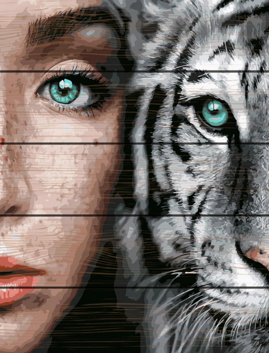 RA-GXT31989 Раскраска по номерам на деревяной основе Девушка и тигр