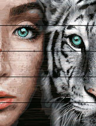 RA-GXT31989 Раскраска по номерам на деревяной основе Девушка и тигр, фото 2