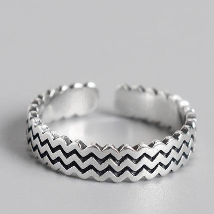 Срібне Кільце Жіноче City-A Кільце з Срібла 925 Хвилі Регульоване Безрозмірне №3001, фото 2