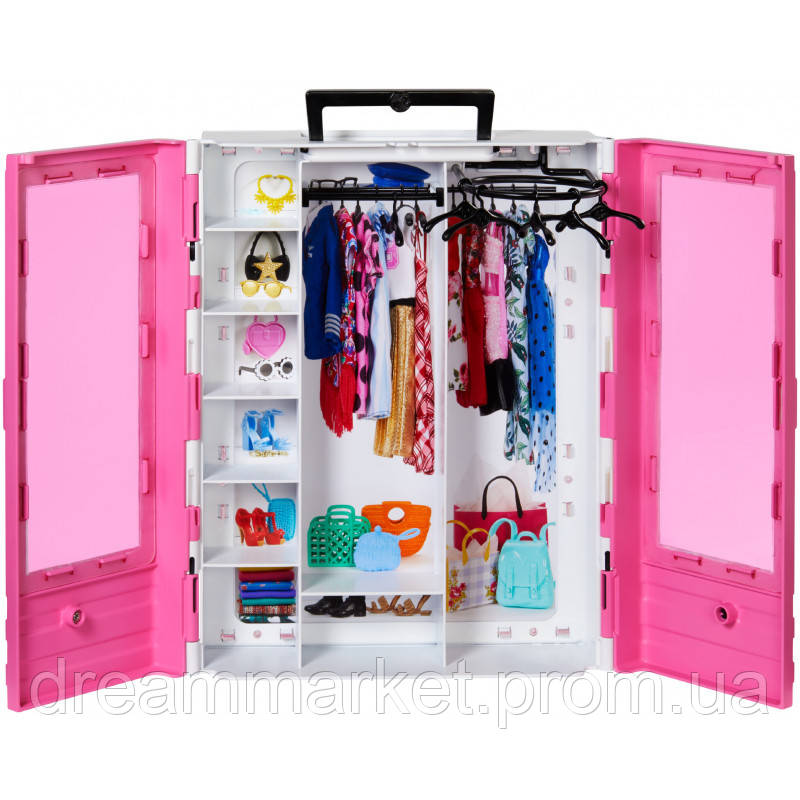 Игровой Набор Шкаф-чемодан для одежды и аксессуаров с вешалками для куклы Барби розовый - Barbie Ultimate