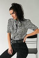 Леопардовая женская блузка с завязками LUREX - белый цвет, L (есть размеры), фото 1
