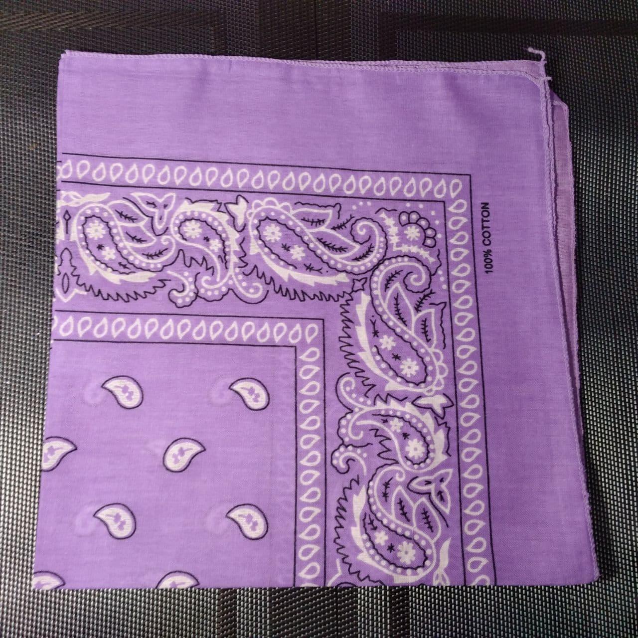 Бандана классическая светло-фиолетовая 55х55 см