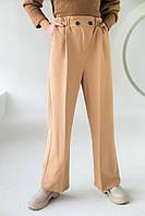 Свободные брюки прямого кроя на резинке PERRY - св-коричн цвет, L (есть размеры)