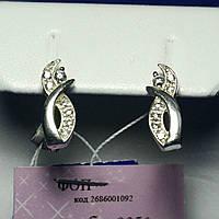 Серебряные серьги женские с цирконом сс-162, фото 1