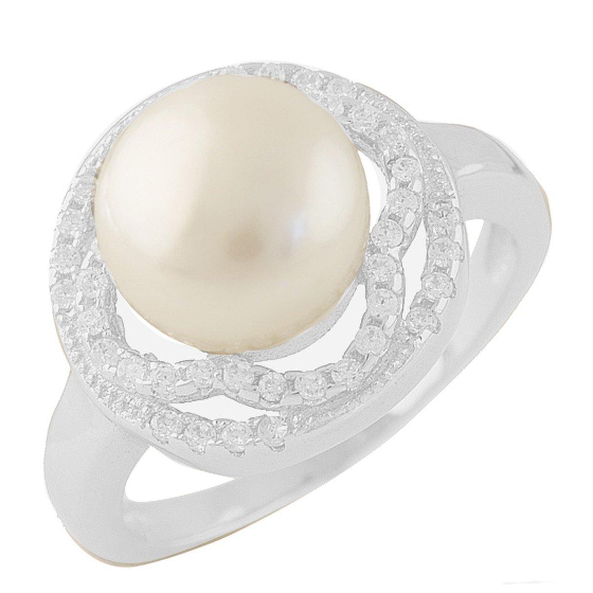 Серебряное кольцо DreamJewelry с натуральным жемчугом (1404218) 17.5 размер