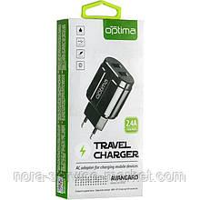 СЗУ Optima Avangard OP-HC02 2USB 2.4A + Cable iPhone X Black