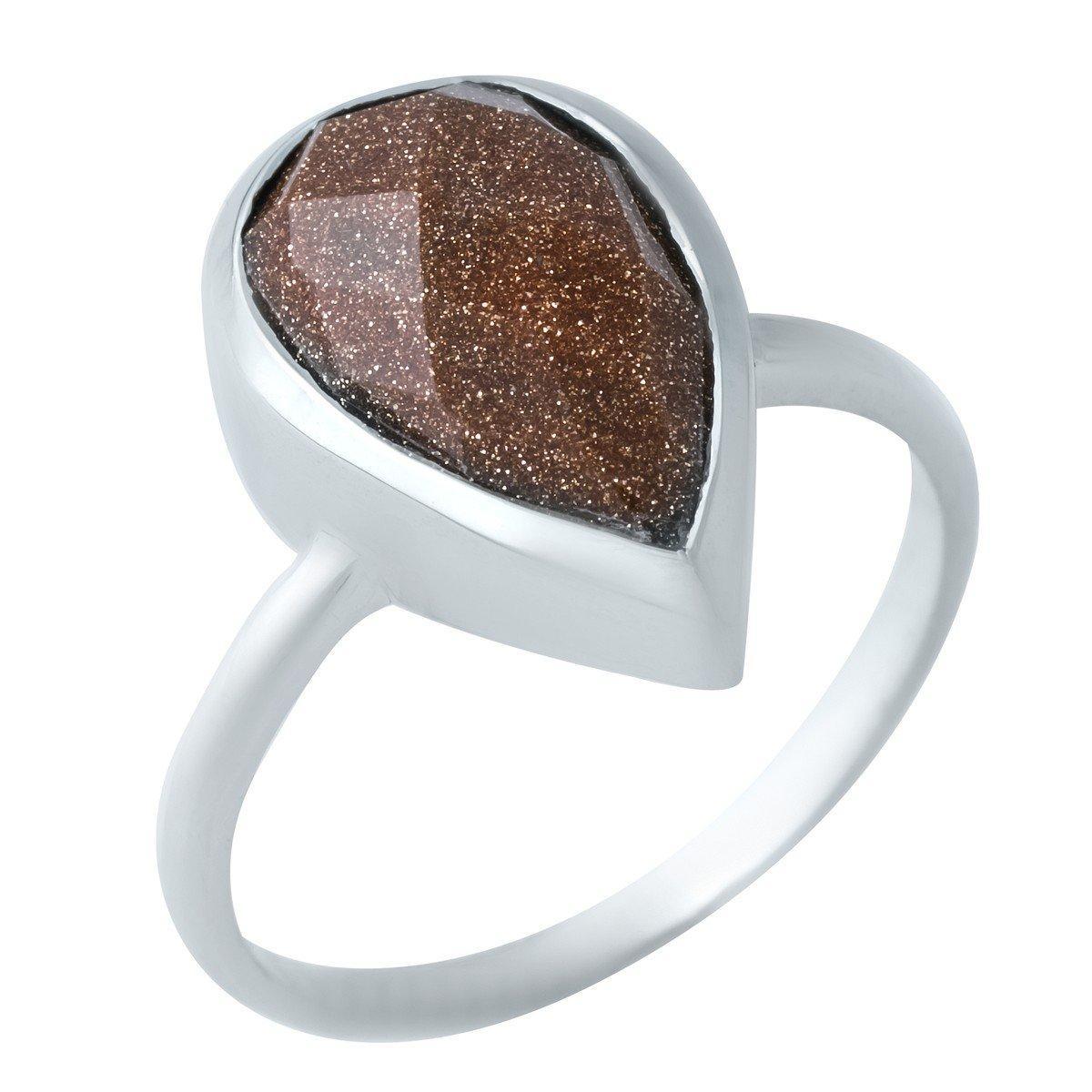 Серебряное кольцо DreamJewelry с натуральным авантюрином (1921975) 18 размер