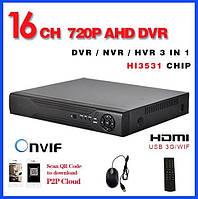 AHD видеорегистратор + HDD 1Tb в подарок, 16 каналов, 3в1 гибридный, real time 720P (AHD-6016HE)