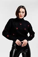Женский вязаный свитер черный с ромбами и цветочной вышивкой Arjen размер S-M (200092-SM)