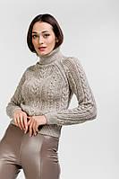 Укороченный вязаный свитер женский бежевый с ажурными узорами Arjen размер S-M (101825-SM)