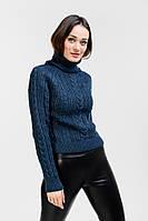 Укороченный вязаный свитер женский цвета темный джинс с ажурными узорами Arjen размер S-M (101825-SM)
