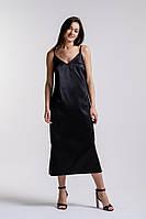 Вечернее платье-миди в бельевом стиле черное Arjen размер S (25587-BK-S)