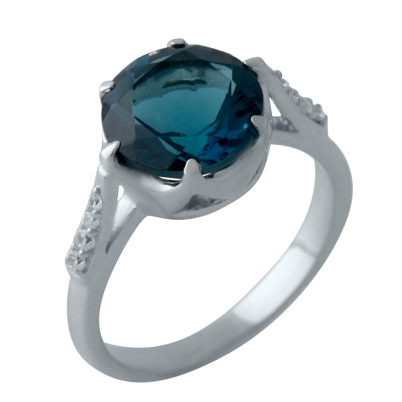 Серебряное кольцо DreamJewelry с натуральным топазом Лондон Блю 3.06ct (2012412) 17.5 размер