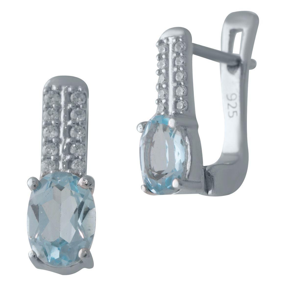 Срібні сережки DreamJewelry з натуральним топазом (2028284)