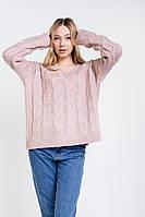 Женский вязаный пуловер оверсайз с косичками розовый Arjen размер One Size (101727-OS)