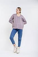 Женский вязаный пуловер оверсайз с косичками фиолетовый Arjen размер One Size (101727-OS)