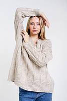 Женский вязаный пуловер оверсайз с косичками бежевый Arjen размер One Size (101727-OS)