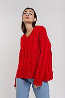 Женский вязаный пуловер оверсайз с косичками красный Arjen размер One Size (101727-OS)