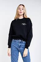 Женский укороченный свитшот черный с вышитой надписью Brooklyn NY Arjen размер One Size (46169-OS)
