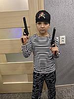 Тельняшка детская начёс от 1 до 11 лет , черная полоска, костюм пирата , костюм француза , моряк