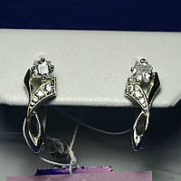 Серебряные серьги с квадратным цирконием сс 173, фото 1