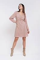 Короткое шифоновое платье с длинными рукавами бежевое Arjen размер S (46154-Bg-S)