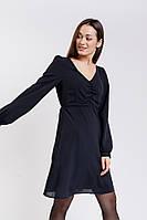 Короткое шифоновое платье с длинными рукавами черное Arjen размер S (46154-BK-S)