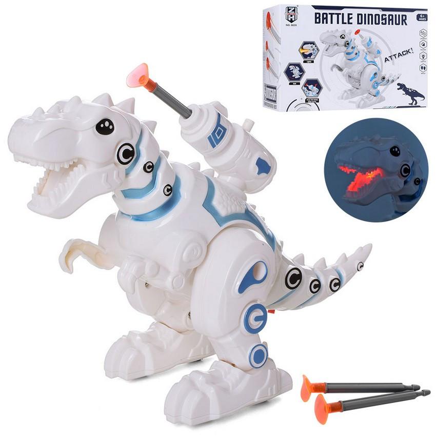 Динозавр 25см зі звуком та світлом, стріляє кулями