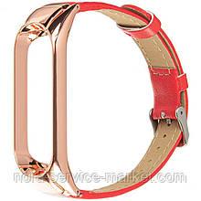 Xiaomi Leather Band For Mi Band 3/4 Red(Шкіряний ремінець)
