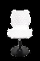 Белый барный стул на черном блине в материале шенилл Toni BK - Base - стильный стул в стильный интерьер