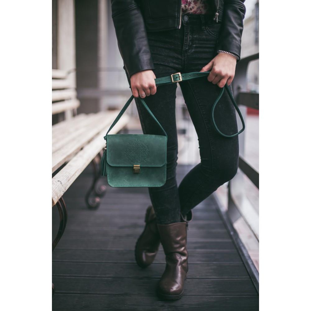 663cf8831952 ... Сумка малая кросс-боди натуральная кожа женская зеленая (ручная  работа), ...