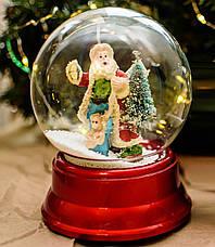 Снежный шар «Дед Мороз»  (музыкальный вращается) 18 см / новогодний шар со снегом / автометель на батарейках, фото 3