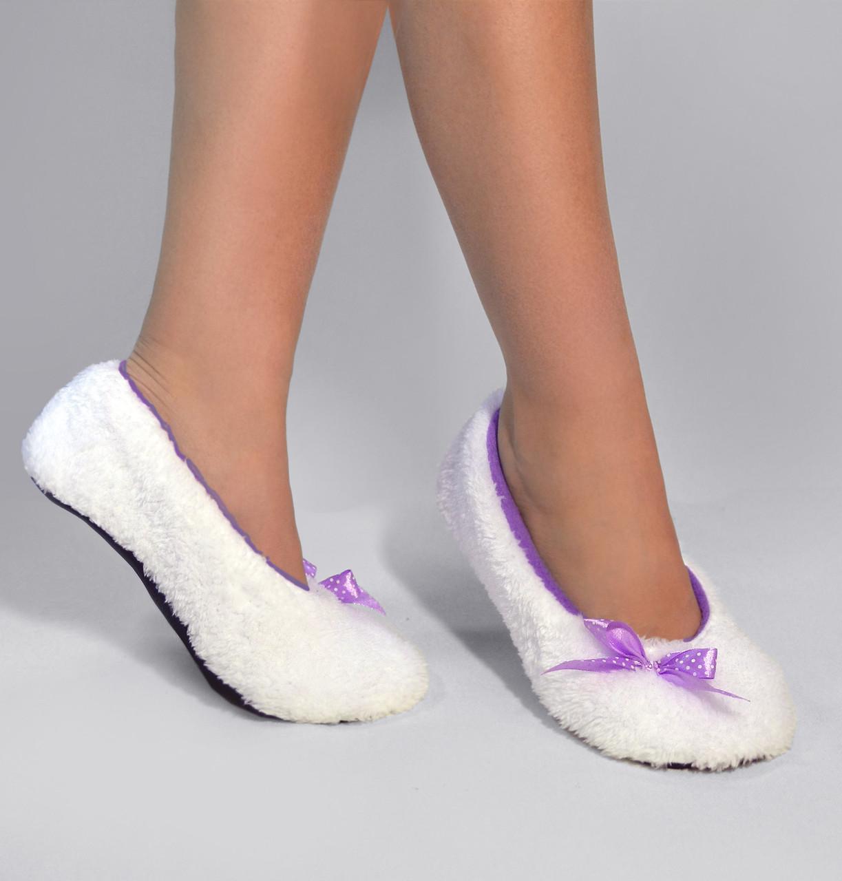 """Махровые балетки """"White"""" c фиолетовым"""