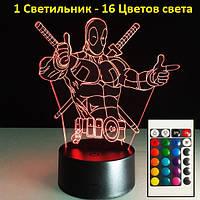 """3D Светильник """"Дедпул"""", Оригинальный подарок ребенку, Оригінальний подарунок дитині"""