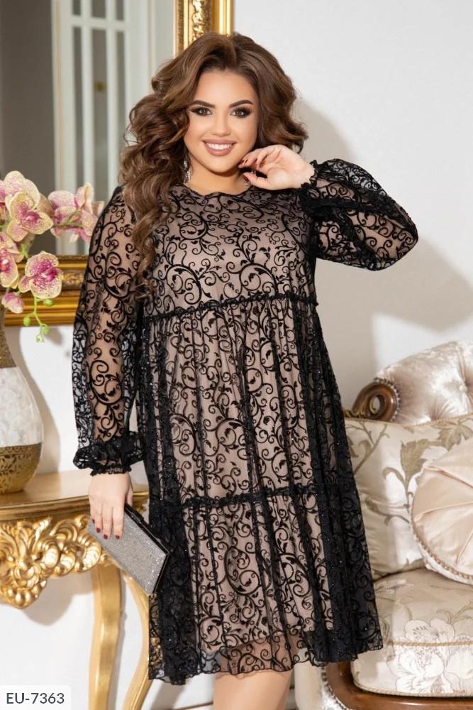 Элегантное нарядное платье, батал размеры: 50-52, 54-56, 58-60