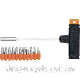 Отвертка с Т-образной ручкой, набор бит 11 шт SPARTA